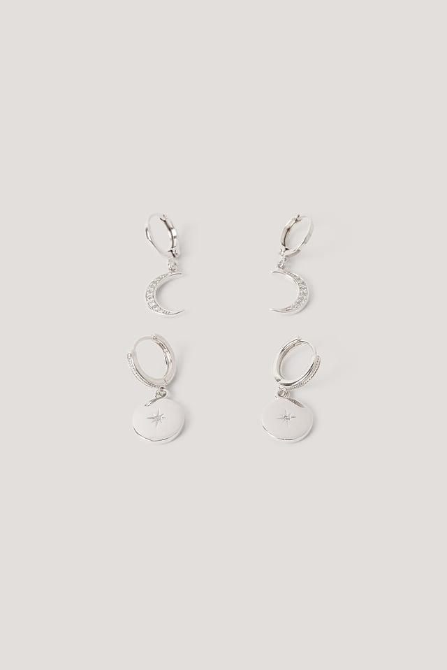 Silver Boucles D'Oreilles Pendantes Mini Lune Et Étoile