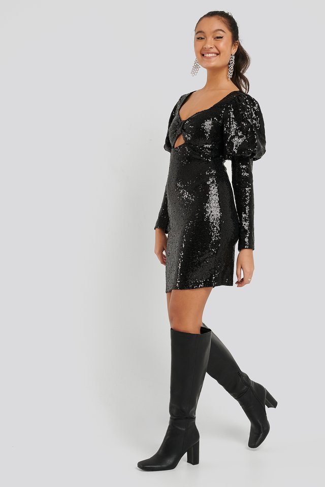 Mini Sequined Dress Black