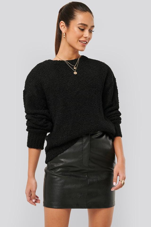 Waist Detail PU Skirt Black