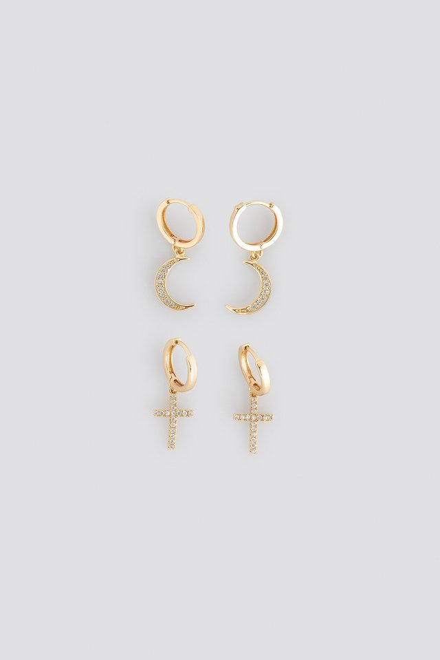 Moon Cross Earrings Gold
