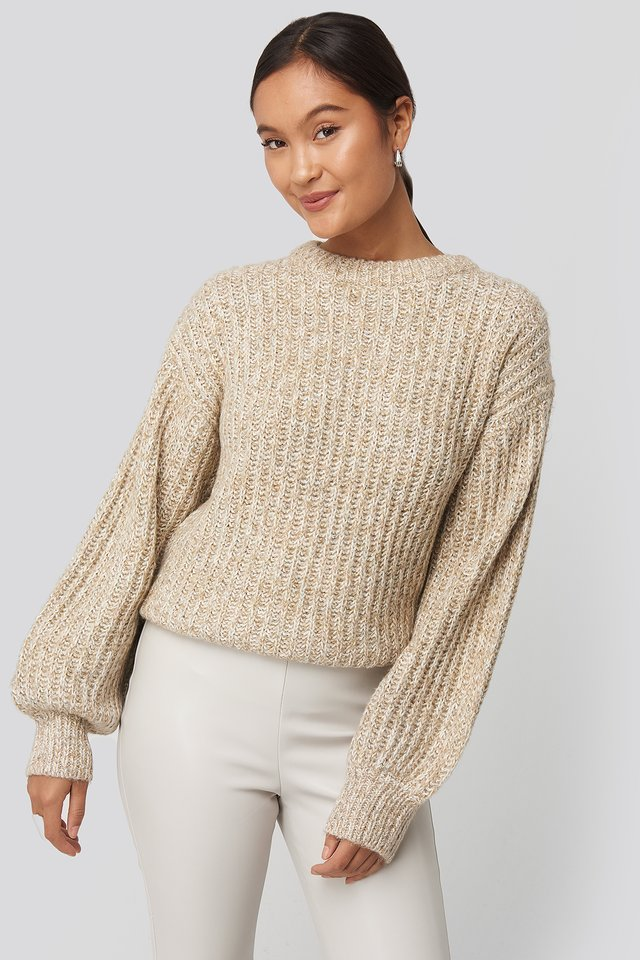 Beige Multi Color Balloon Sleeve Knitted Sweater