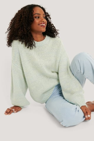 Blue Multi Color Knitted Sweater