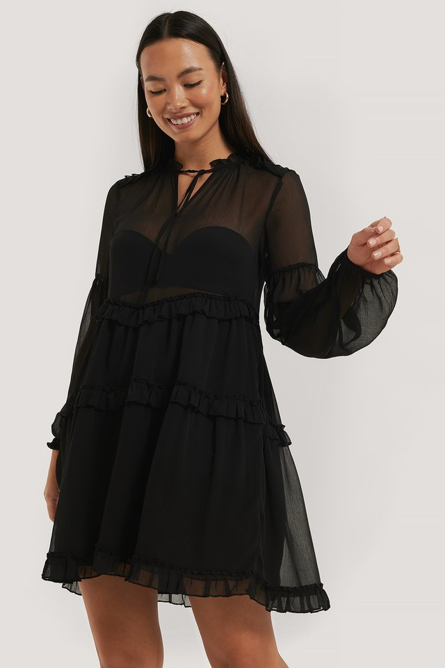 Robe En Mousseline À Volants Black