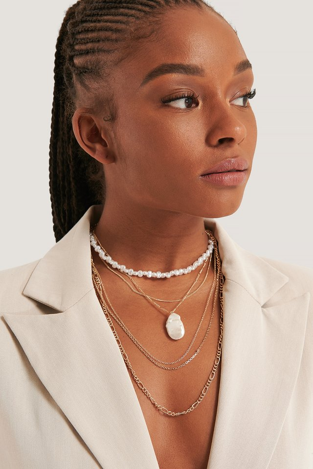 Multilayered Bead Detail Necklace Gold