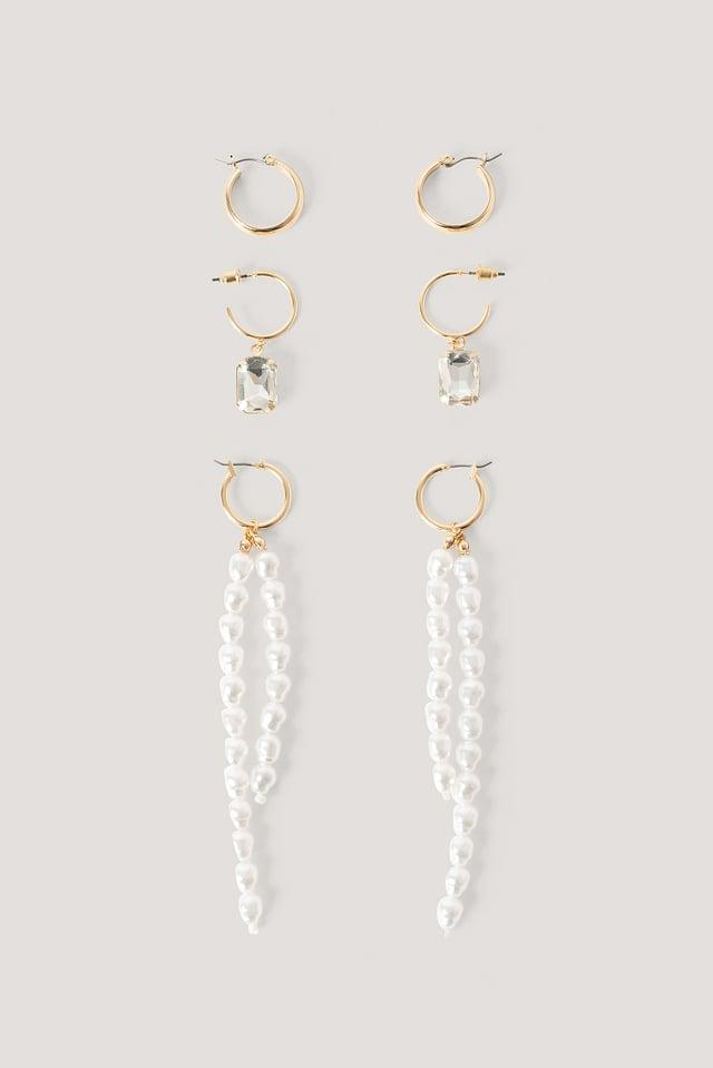 Lot Longues Boucles D'Oreilles À Cascade De Perles Gold/White
