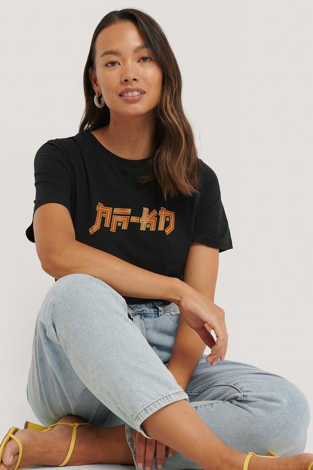 Black Tee-Shirt Imprimé Na-Kd