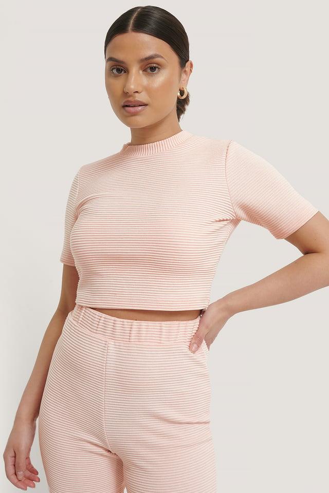 Pink Tee-Shirt Court Côtelé