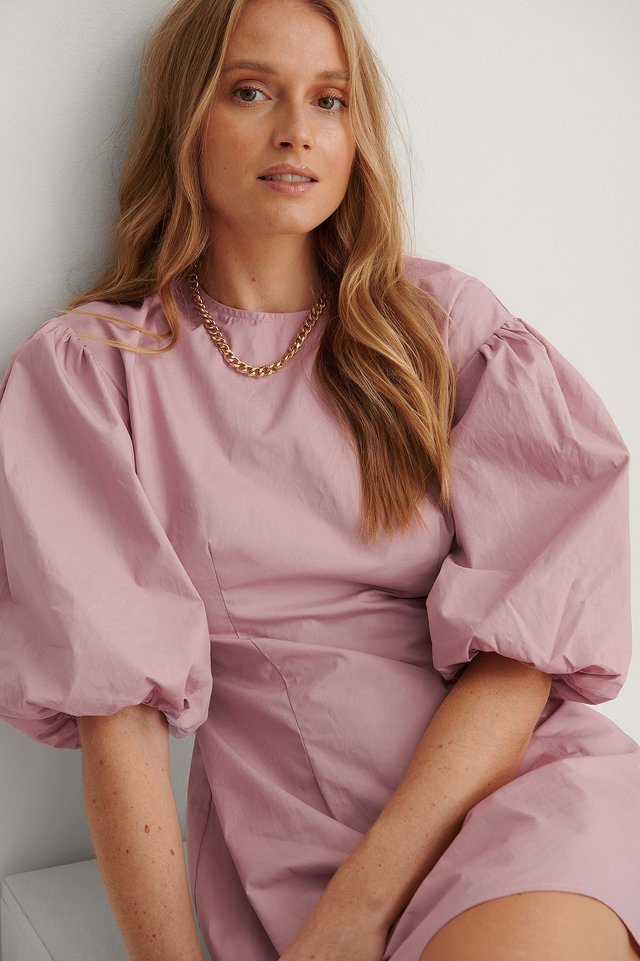 Robe Mini À Manches Bouffantes Courtes Dark Dusty Pink