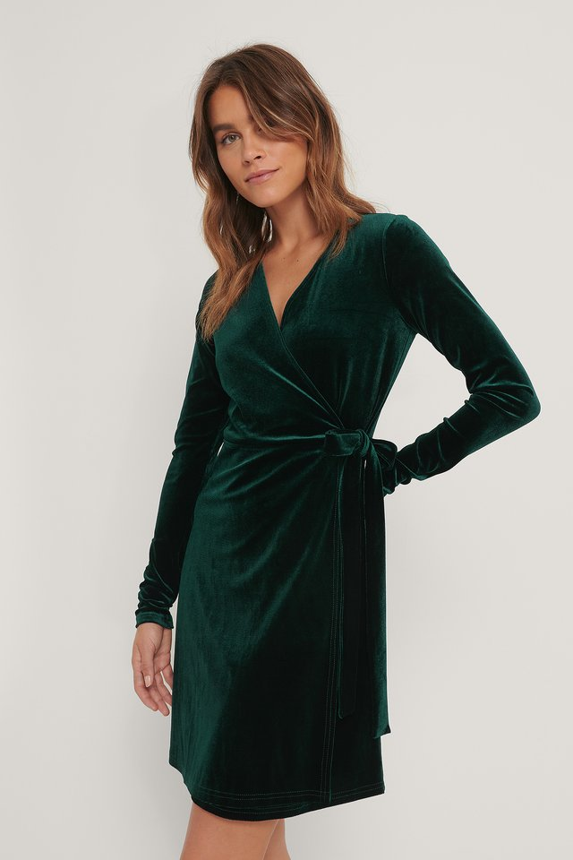 Robe Cache-Coeur En Velours Emerald Green