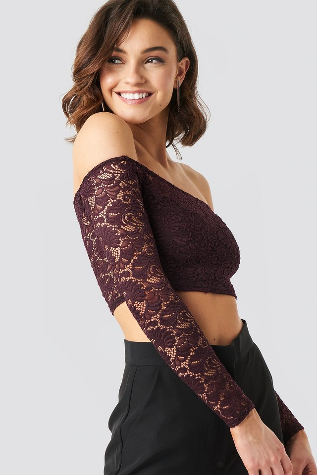 Dark Burgundy Off Shoulder Lace Top
