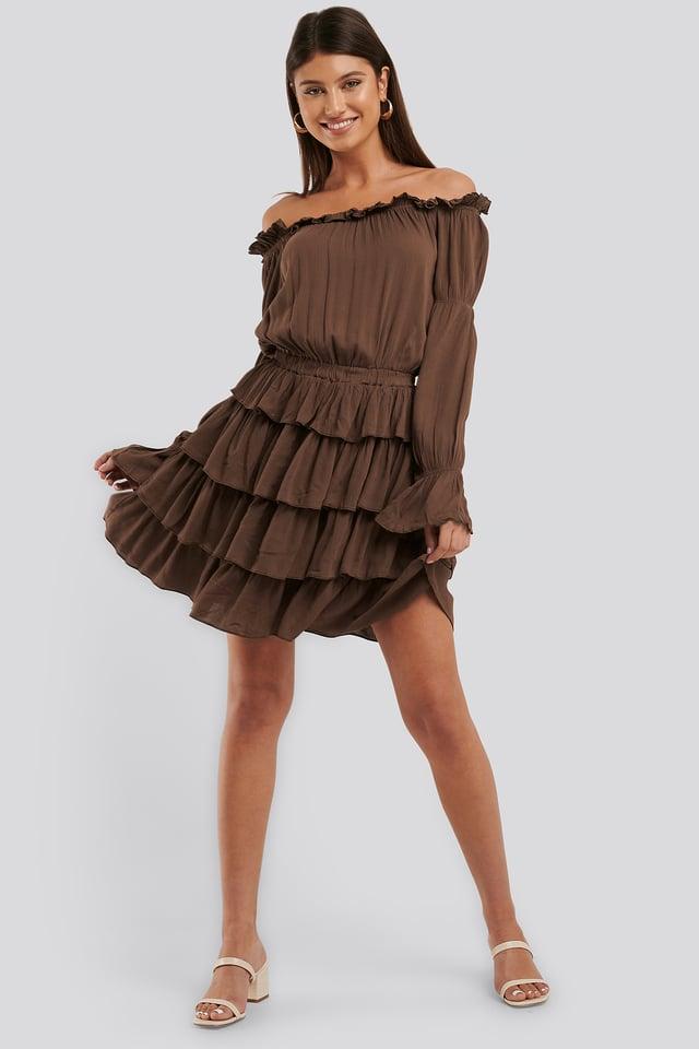 Robe À Volants Brown