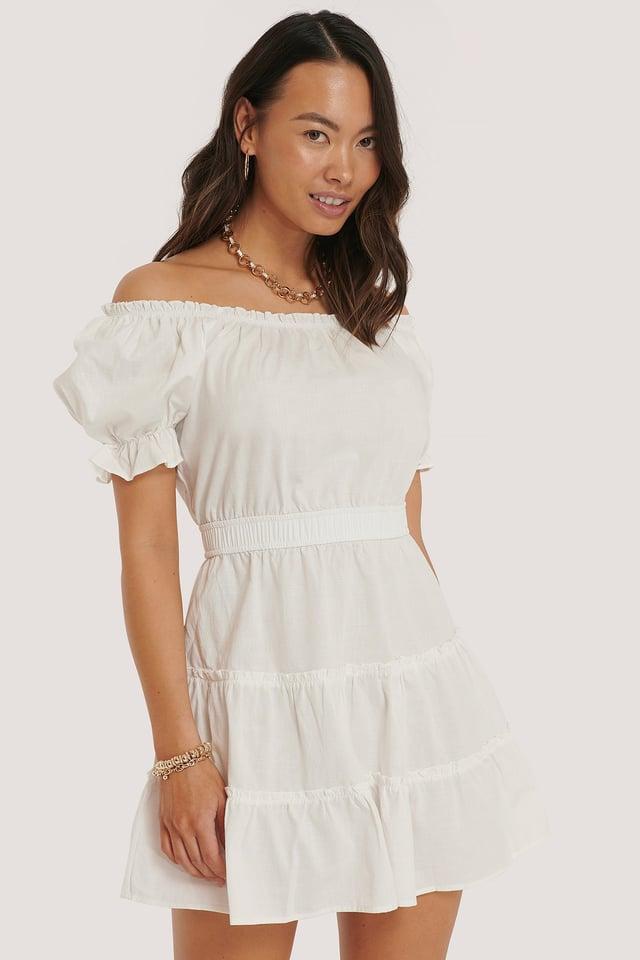 Mini Robe Épaules Dénudées White