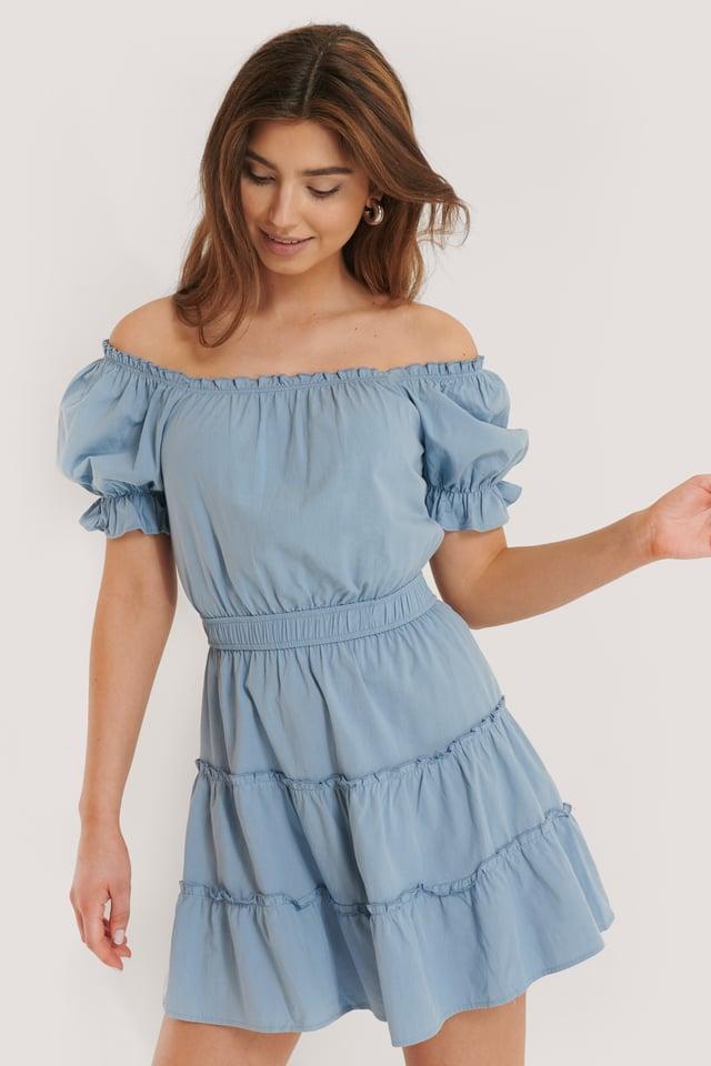 Mini Robe Épaules Dénudées Blue