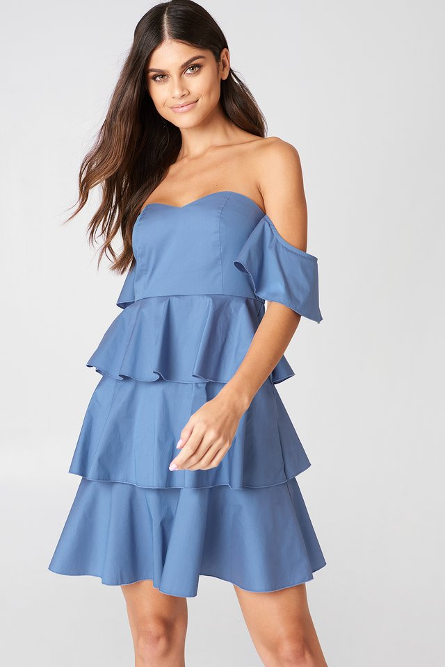 Off Shoulder Mini Flounce Dress Blue