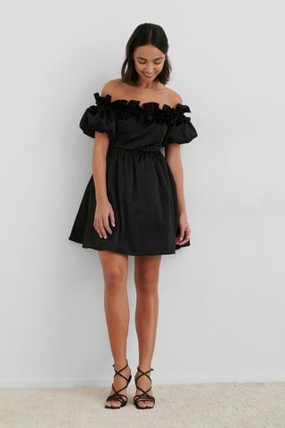Black Off The Shoulder Satin Dress