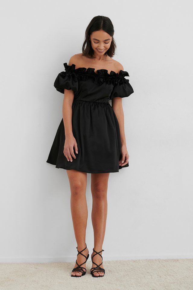 Off The Shoulder Satin Dress Black
