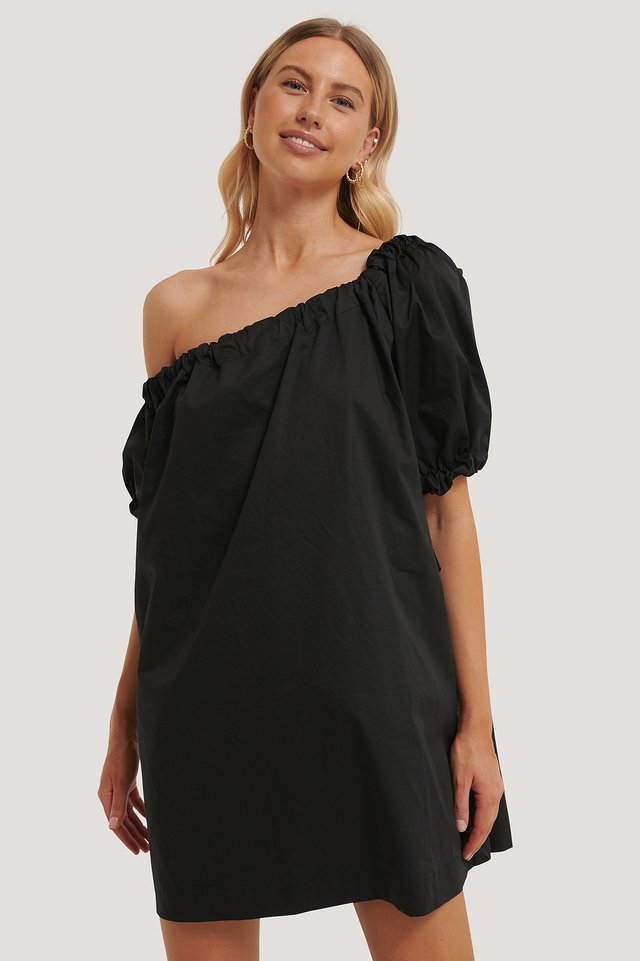 Black One Shoulder Cotton Dress