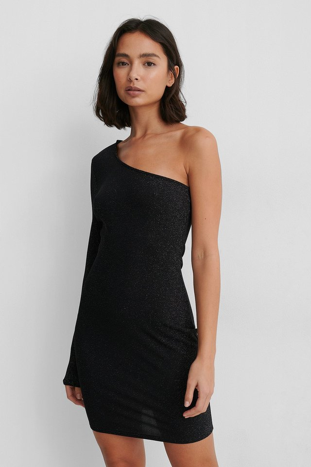 One Shoulder Glitter Dress Black