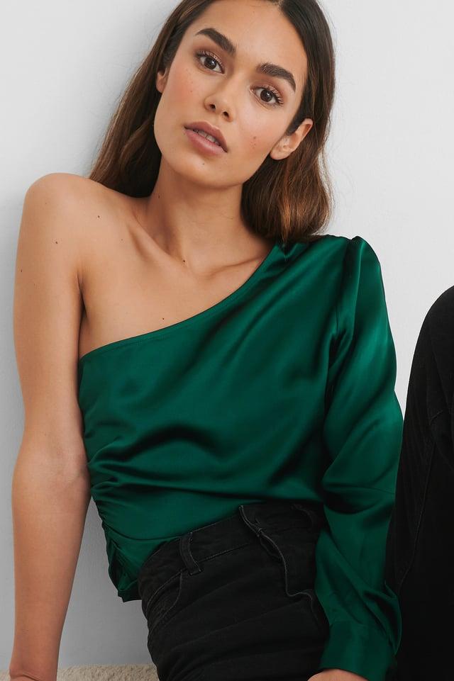 Haut Une Épaule Emerald