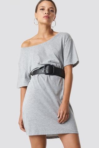 Grey Melange Robe Une Épaule