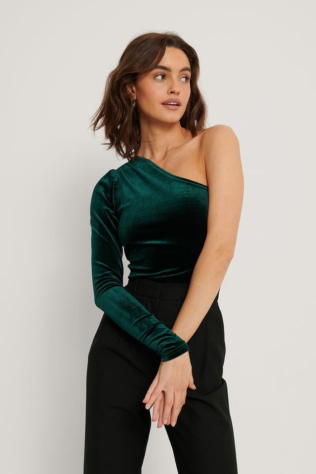Haut En Velours À Une Épaule Emerald Green