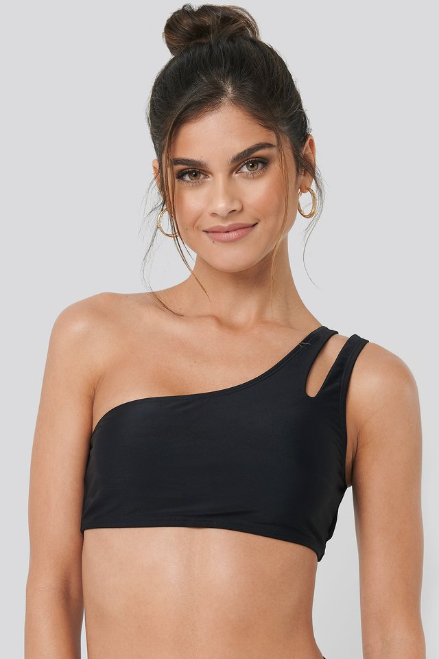 One Shoulder Cut Out Bikini Top Black