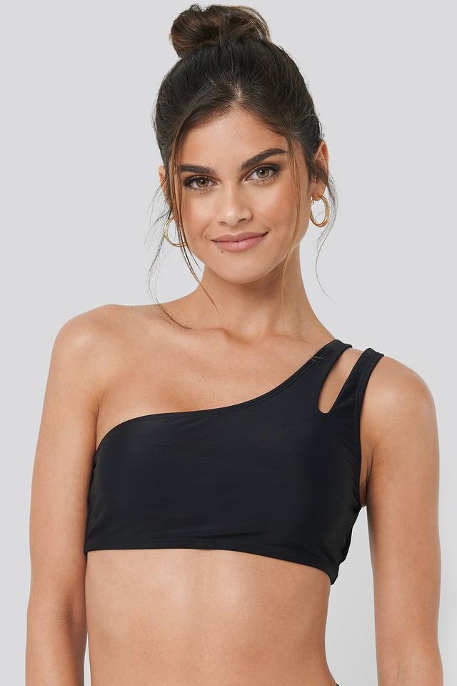 Black One Shoulder Cut Out Bikini Top