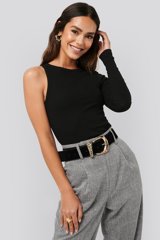 One Sleeve Ribbed Top Black