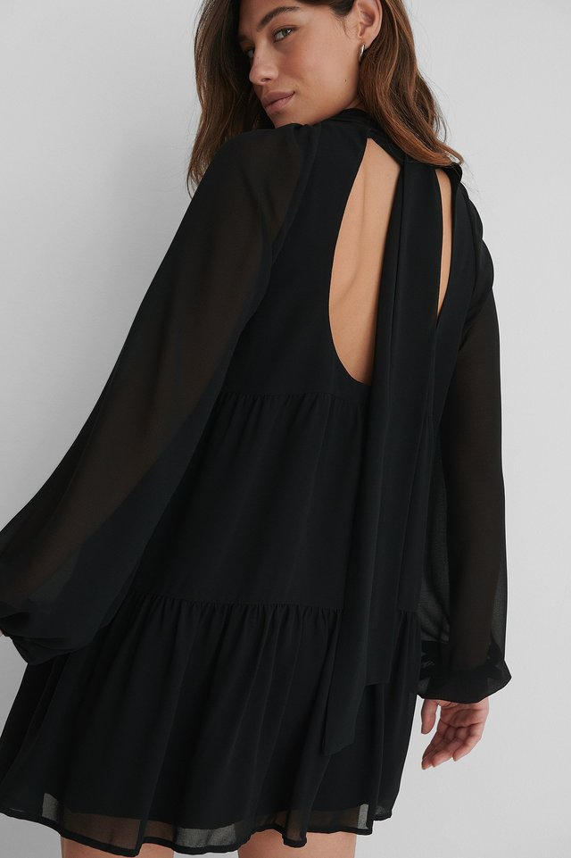 Black Recyclée Robe Dos Nu