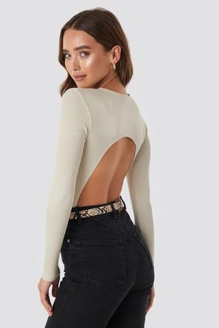 Off White Open Back Bodysuit