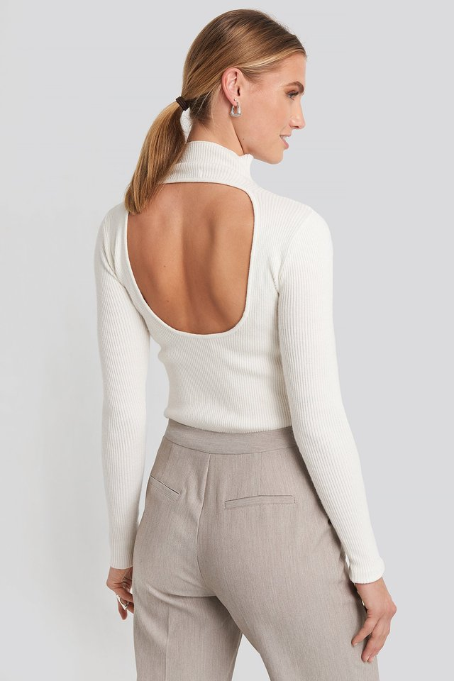 Open Back High Neck Knitted Sweater Offwhite