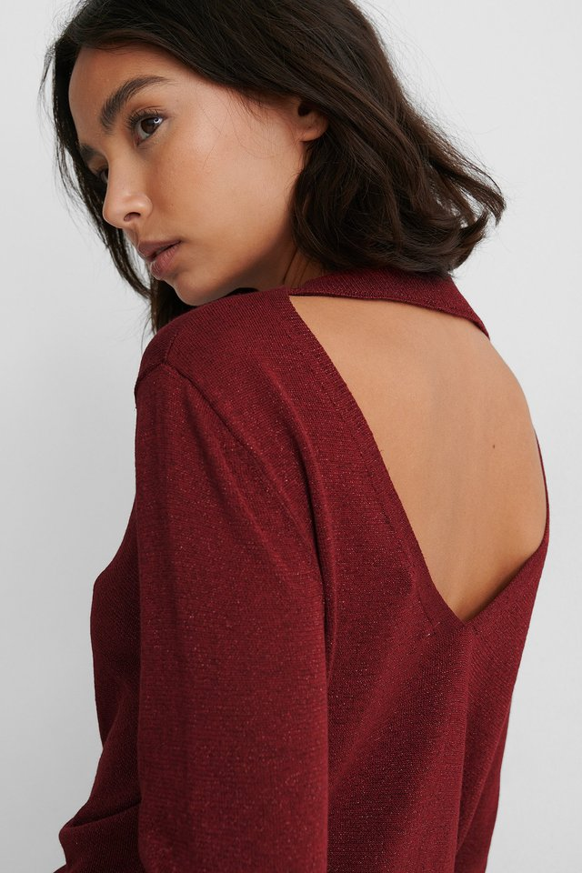 Pull Tricoté Dos Ouvert Dark Red