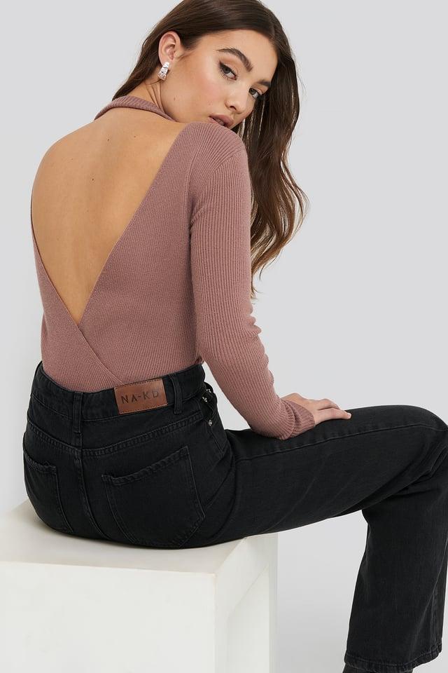 Open Back Overlap Knitted Sweater Dusty Dark Pink