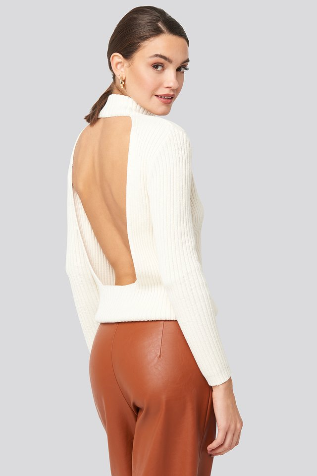 Open Back Ribbed Sweater Off White