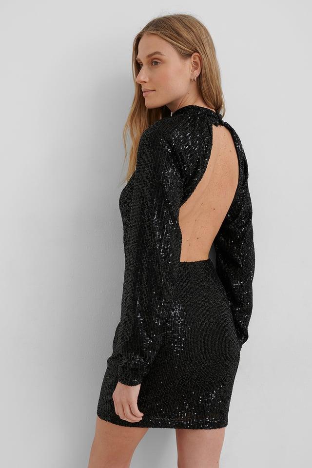 Robe Mini Pailletée À Dos Ouvert Black