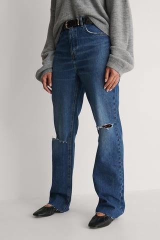 Mid Blue Jean Taille Haute À Genoux Ouverts