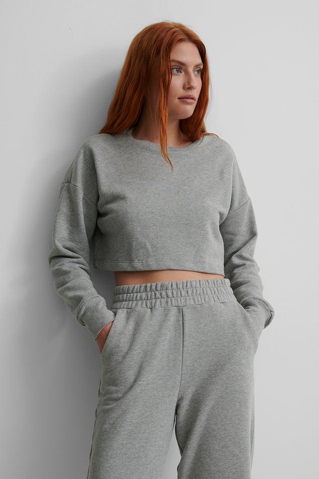 Biologique Sweatshirt Court Grey Melange
