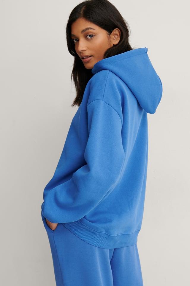 Blue Biologique Sweatshirt À Capuche Oversize Bio