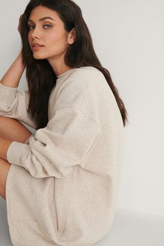 Beige Melange Robe Sweatshirt Oversize Bio