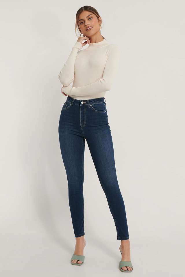 Dark Blue Biologiques Jean Slim Taille Haute