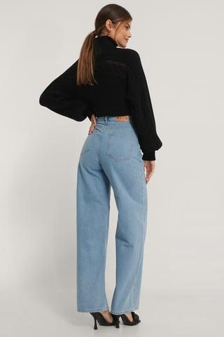Light Blue Biologiques Jean Large Taille Haute