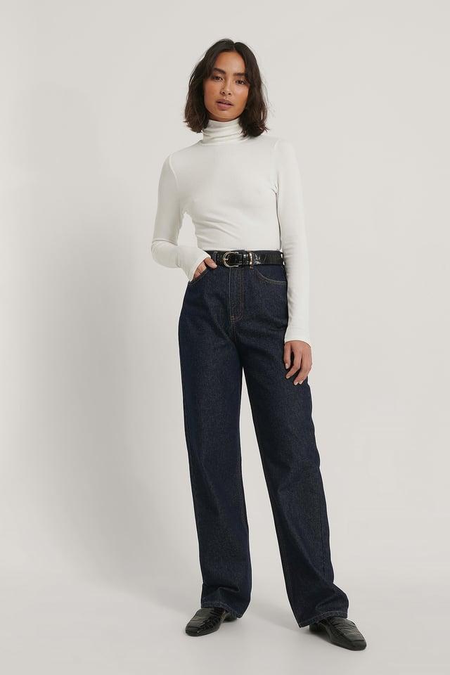 Biologiques Jean Large Taille Haute Dark Blue