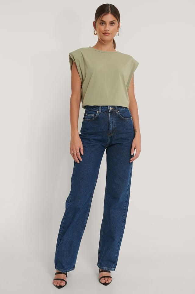 Biologiques Jean Large Taille Haute Mid Blue
