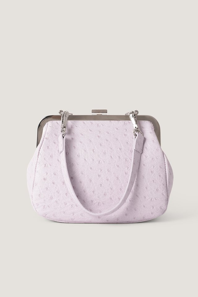 Lilac Ostrich Look Clasp Bag