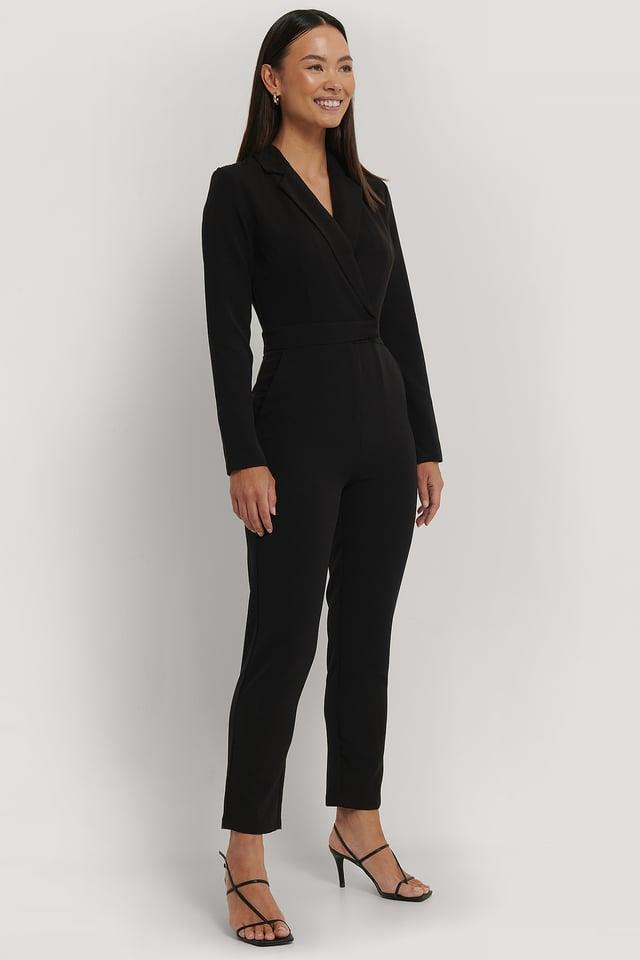 Overlap Collared Long Sleeve Jumpsuit Black