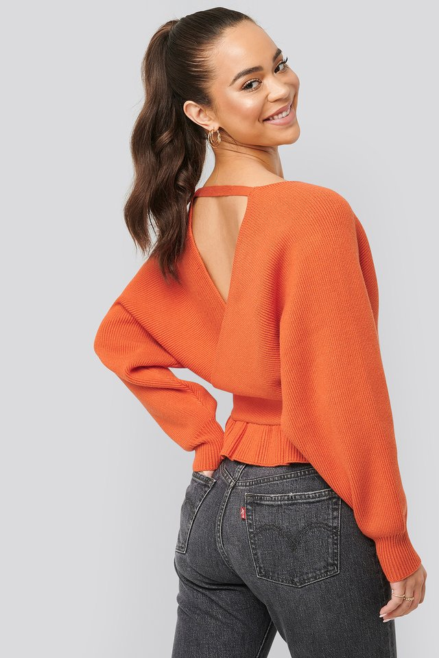 Overlap Flounce Knitted Sweater Orange