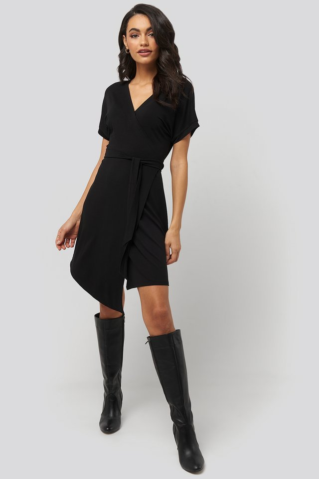 Overlap Jersey Dress Black