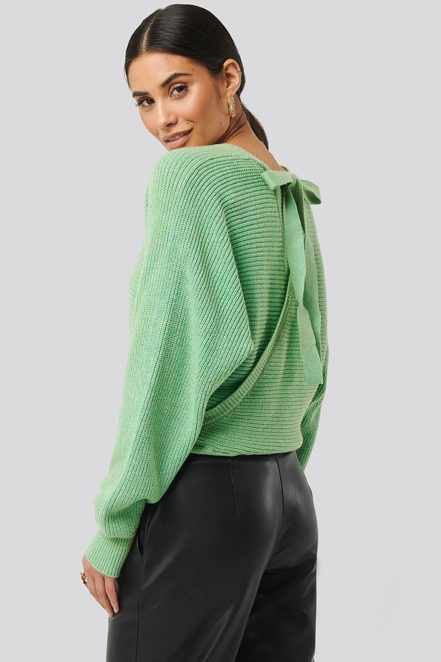 Overlap Knitted Tie Detail Sweater Green
