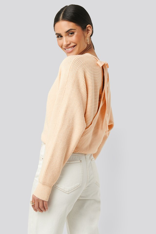 Overlap Knitted Tie Detail Sweater Offwhite