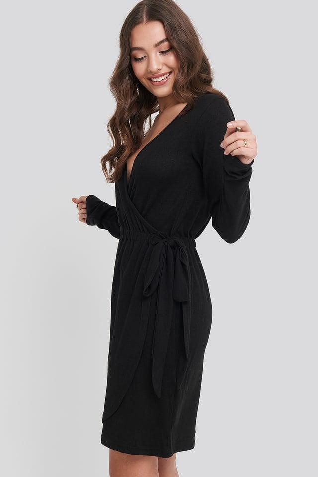 Overlap Light Knitted Dress Black